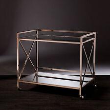 Jbc14502 Metallic Gold Finish Metal Gl Mirror Wine Bar Cart