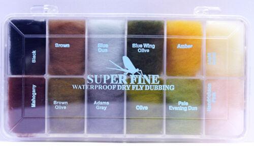 WAPSI SUPERFINE DRY FLY DUBBING Water Repellent Floats Dubbing Box