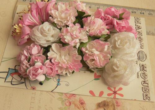24 Flowers 5 Tones 4 Styles PAPER Flowers 15-30mm VA5 CYCLAMEN PINK /& WHITE