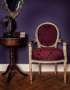 Image Is Loading French Louis Armchair Gold Purple Vintage Floral Shabby
