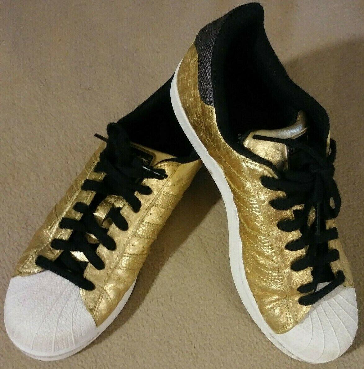 7 1 2 Adidas Superstar Shelltoe oro Metálico Avestruz para hombres talla 7.5 cabezas de gato