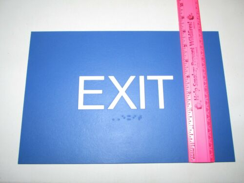 """NEW Plastic Blue /& White 12/"""" x 8/"""" EXIT SIGN Braille ADA Rectangle with Adhesive"""