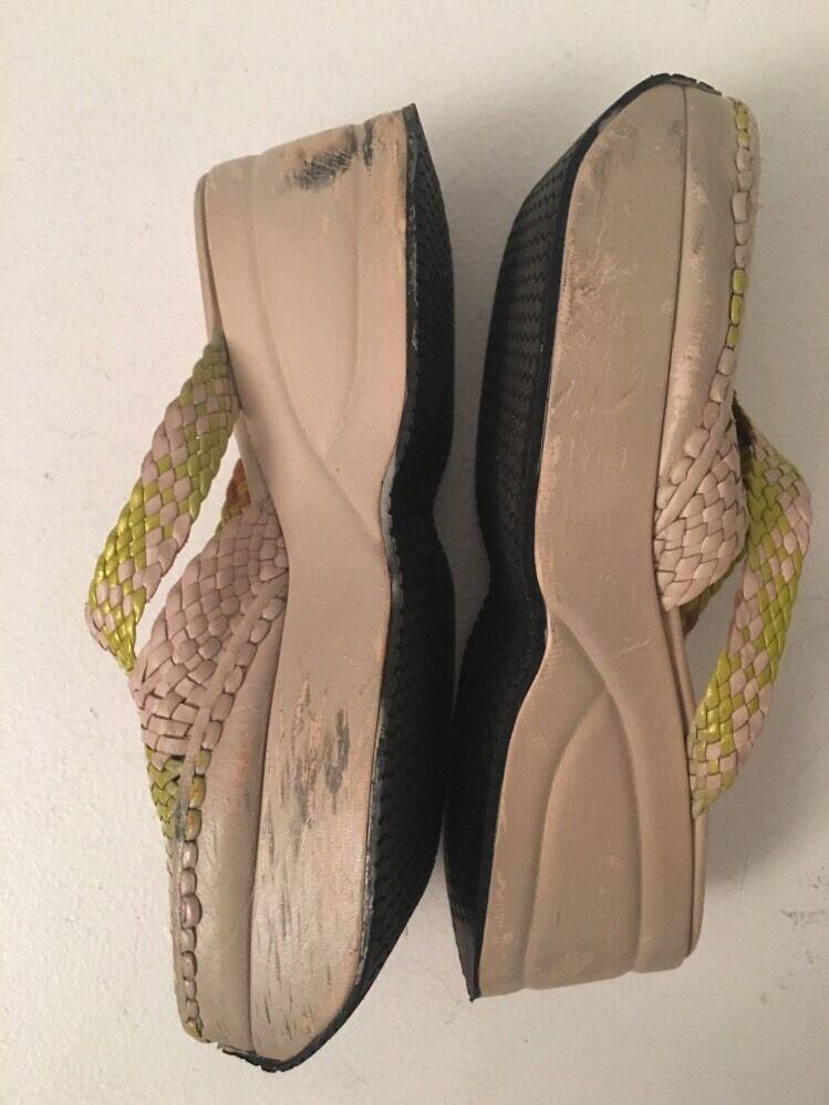Auth Stephane Kelian Cream Green Leder Platform Sandales Schuhes SZ 8.5