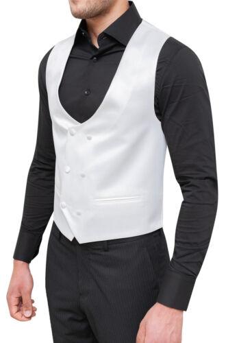Weste Weste Herren Sartoriale Weiß Zweireihig Satin Elegant Formal