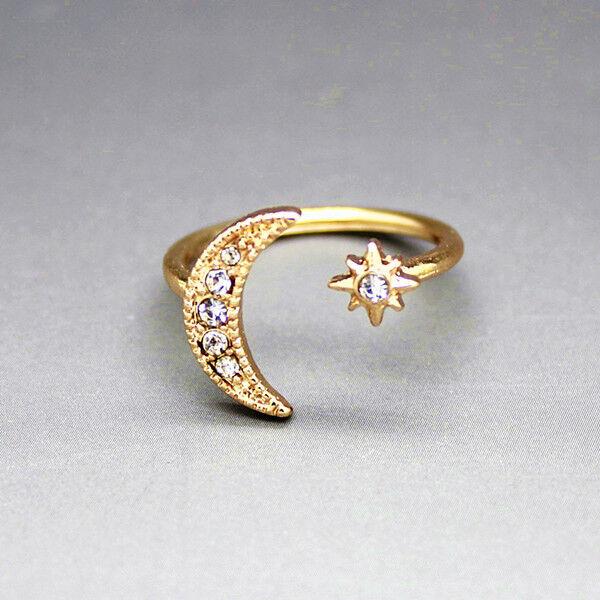 Woman Elegant Rhinestone Moon Star Design Open Ring Fashion Midi Ring