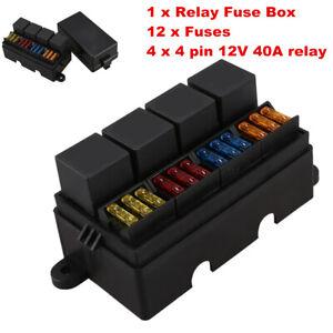 12 Way 12V Auto Car Power Distribution Blade Fuse Holder 4-relay Box Block  Board | eBayeBay