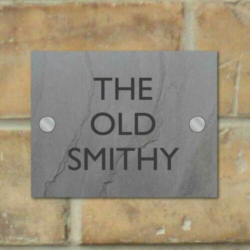 Modern House Sign Plaque House Door Number GREY SLATE GLASS EFFECT ACRYLIC NAME