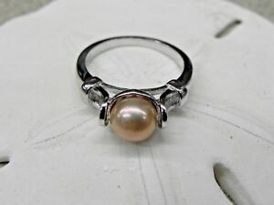 NEW-Vantel-Pearls-Sterling-925-Silver-Fortune-Teller-Ring-R1866-Sz-6-Gold-7-5mm