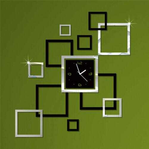 3D DIY Wall Clock Home Modern Decor Crystal Mirror Sticker Living Room Stylish
