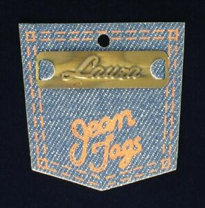 Vintage-Brass-Sew-On-Name-Tag-1-3-4-034-034-Laura-034