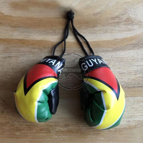 "Guyana Guyanese Flag Mini Boxing Gloves Car Rearview Ornament Culture 4/"""