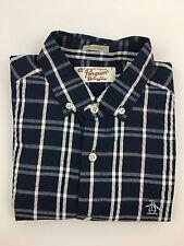 PENGUIN By Munsingwear Men's Blue/White Plaid Heritage Slim Fit Shirt Sz Small