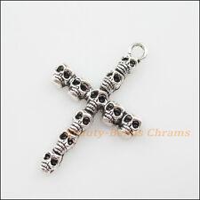 5Pcs Tibetan Silver Tone Skull Cross Charms Pendants 26x41mm