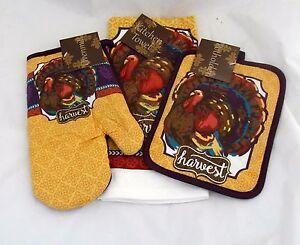 Turkey-Harvest-Kitchen-Set-Towel-Oven-Mitt-Pot-Holder-Autumn-Fall-Thanksgiving