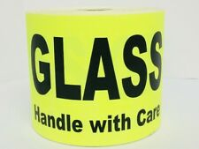 1 Roll Of 100 4x6 Yellow Glass Fragile Handle With Care Shipping Supply Labels
