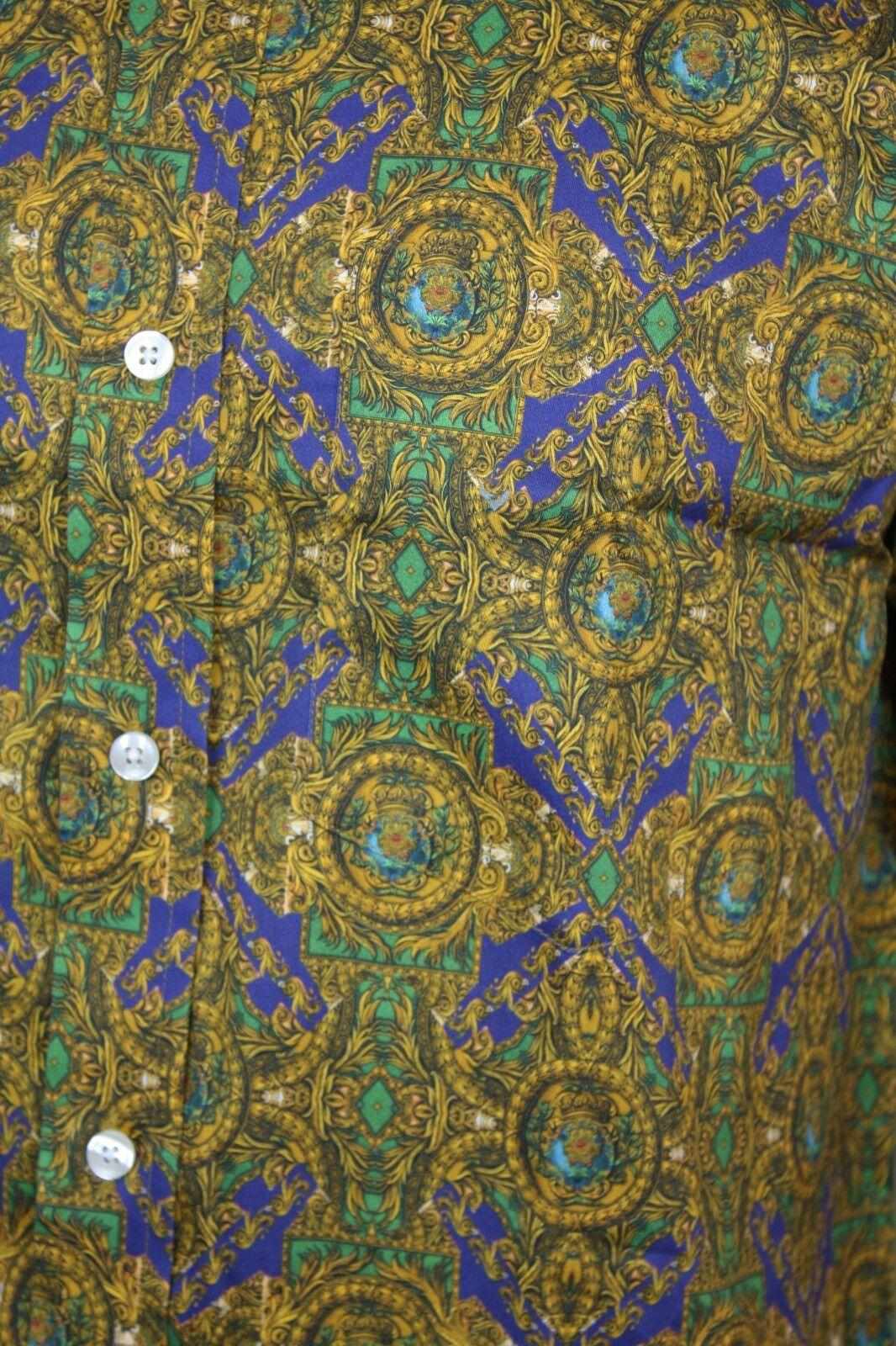 RELCO Uomo PLATINO ORO REGALE stampa a maniche lunghe lunghe maniche Camicia button down 05f59a