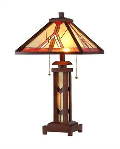 Tiffany Style Stained Glass Wood Table Lamp Lighted Base Mission Handcrafted