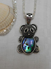 Lovely unique teddy bear pendant abalone shell bead silver plated necklace