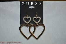 Guess Brand Gold-Tone Double Heart Drop Earrings XMAS Valentine Gift Idea NWT :)