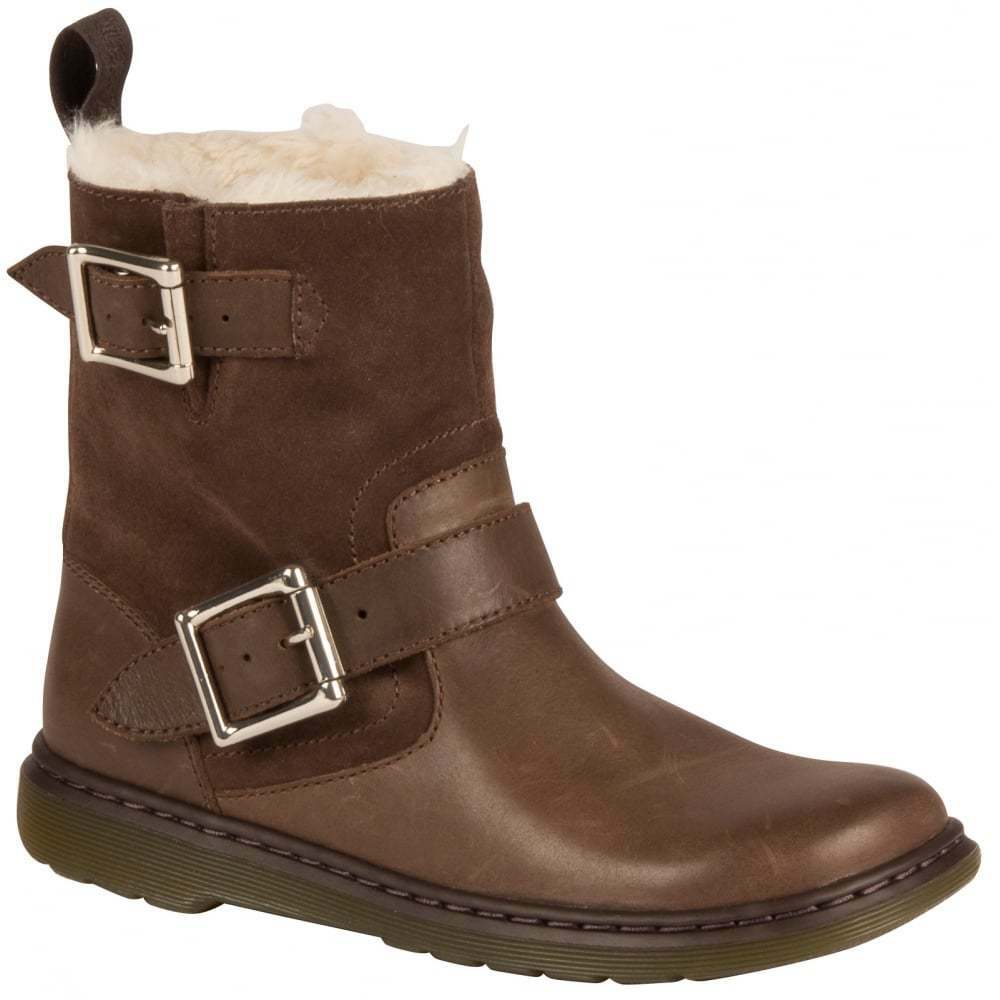 Dr. Martens Fur Lined Gayle Dark Brown Oil Illusion Hi Suede WP Boots 21539201