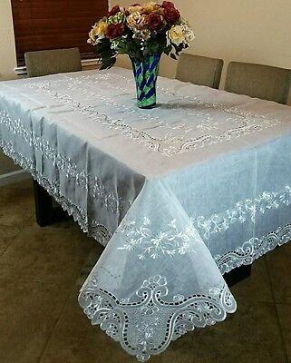 "Elegant linen Embroidery Sheer Organza Floral Fabric 72x108/"" Tablecloth Napkins"