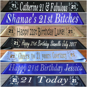 Personalised-Customised-Party-Sash-21st-Birthday-Any-Wording-Any-Name-20-Colours