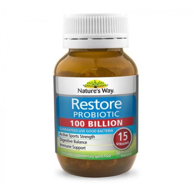 NATURE'S WAY RESTORE PROBIOTIC 100 BILLION 30 CAPSULES ACTIVE SPORTS STRENGTH