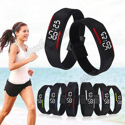 Mens Womens LED Sports Rubber Watch Unisex Date Bracelet Digital Wrist Watch