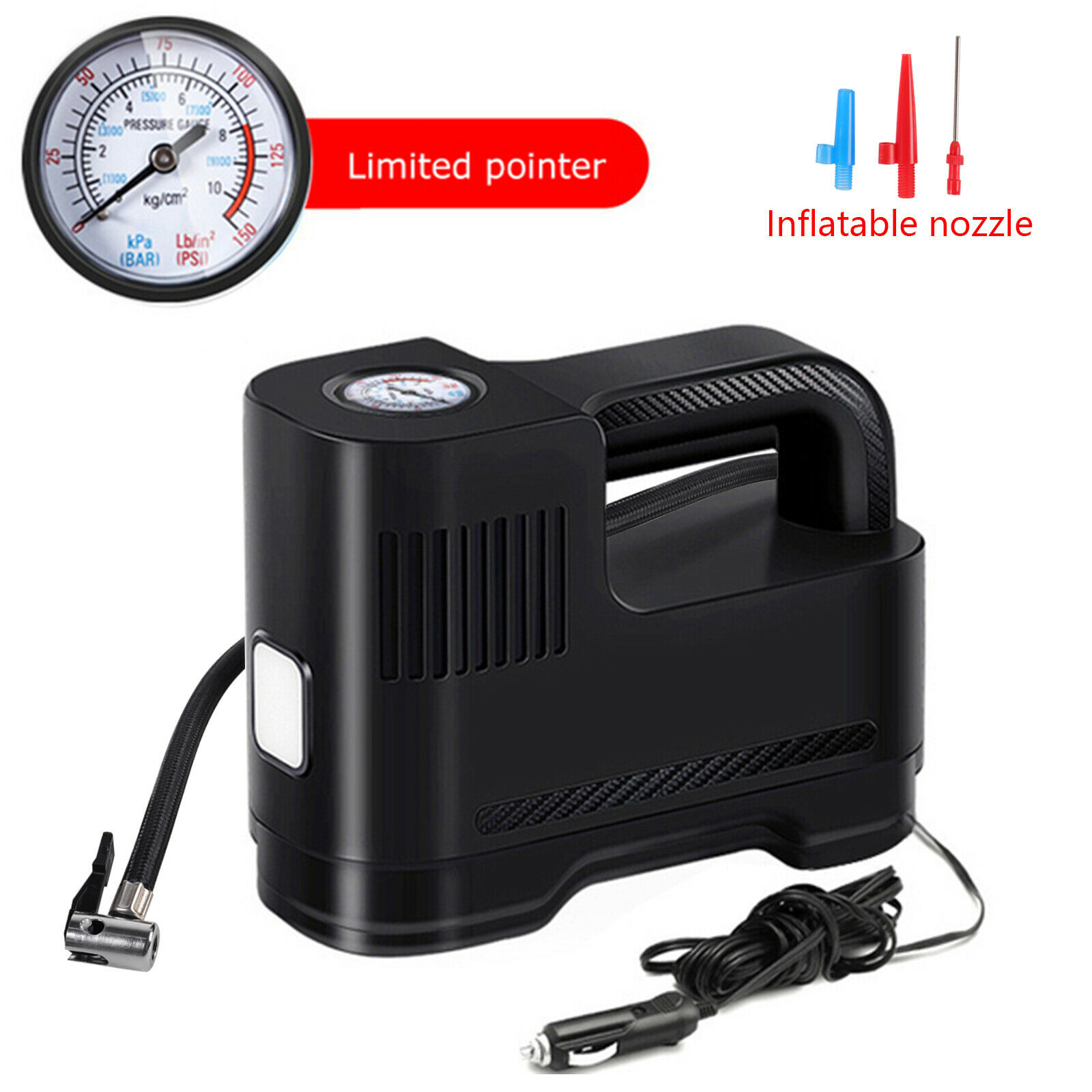 12V Car Tire Inflator Portable 150 PSI Air Pump Compressor Auto-off w/ LED Light. Available Now for 18.99