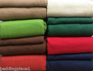 LARGE-100-Cotton-Woven-Sofa-Bed-Throw-Blanket-9-Colours-5-Sizes