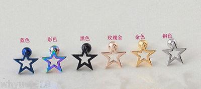 PAIR Titanium steel Stars Stud earring Tragus Cartilage Prevent allergy Gift