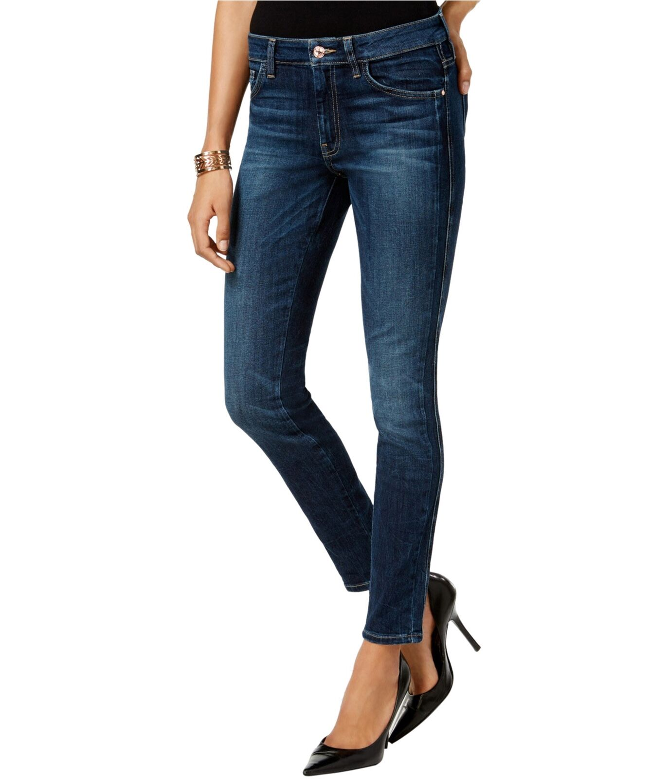 GUESS Womens Whiskering Skinny Fit Jeans