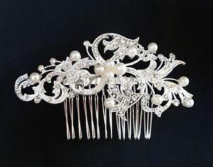 Wedding-Bridal-Hair-Comb-Headpiece-Swarovski-Crystal-Silver-White-Pearl-Vintage