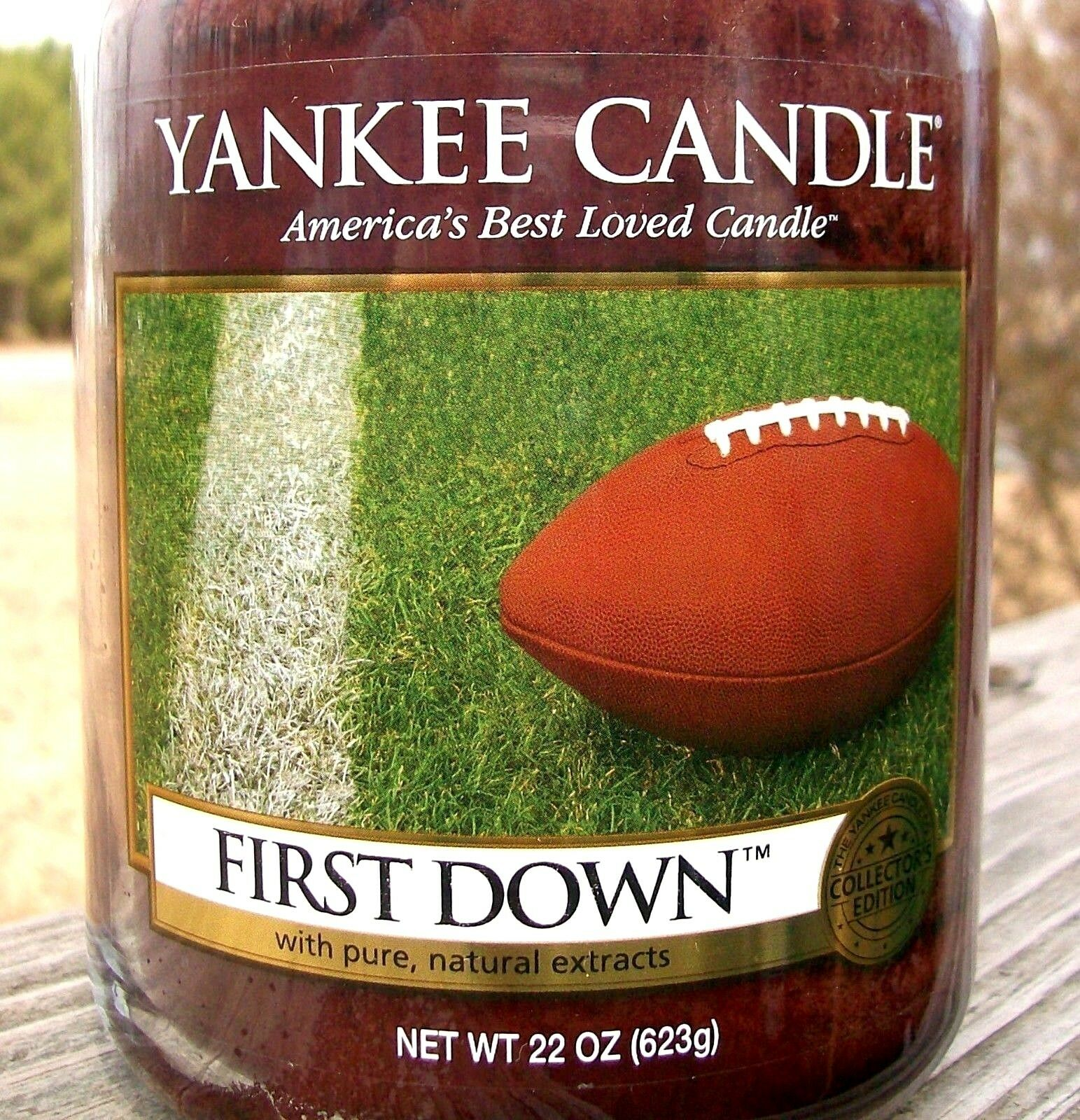 Yankee Candle Retired  FIRST DOWN  Football Large 22 oz  WHITE LABELRARENEW