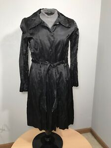 Antonio-Melani-Womens-Black-Button-Down-Trench-Coat-With-Belt-Size-12