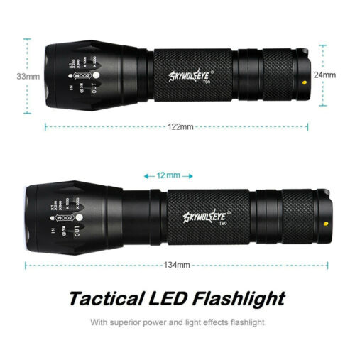 Super Bright T6 Zoom Tactical LED Flashlight Torch Lamp+18650 Battery+Charger FT