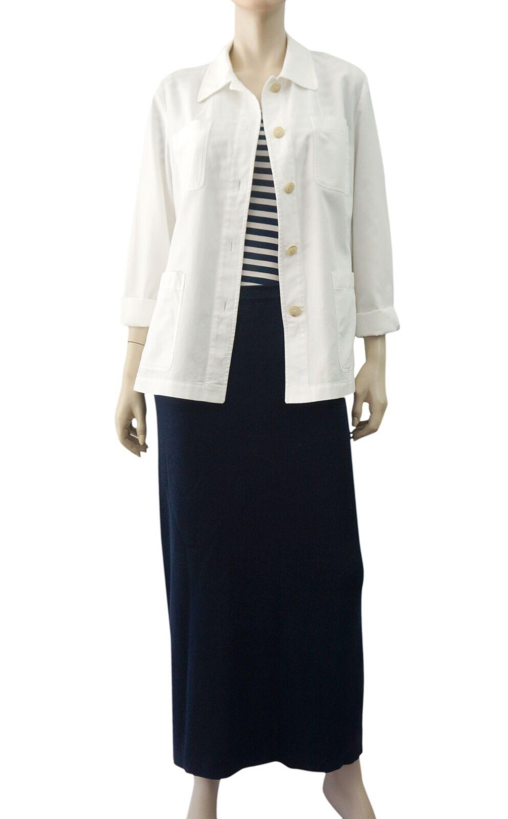 SONIA RYKIEL Navy bluee Ribbed Cotton Side Laced Maxi Skirt 42 US 10