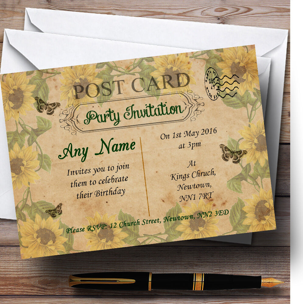 Sunflowers Postcard Vintage Shabby Chic Personalised Birthday Party Invitations 5274cc