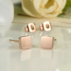 Simple-Smooth-Square-Rose-Gold-GP-Surgical-Stainless-Steel-Stud-Earrings-Gift