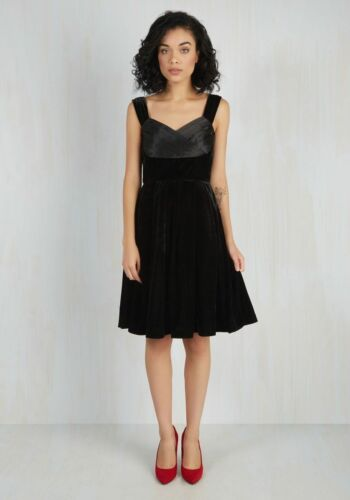 Retro Modcloth Velvet 149 Va Dress Medium Black Pinup Orig Size Satin wqOZSwP