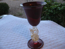 "SALVIATI ANTIQUE MURANO RUBY RED/AVENTURINE 5 6/8""H BIRD/SWAN WINE GLASS/GOBLET"