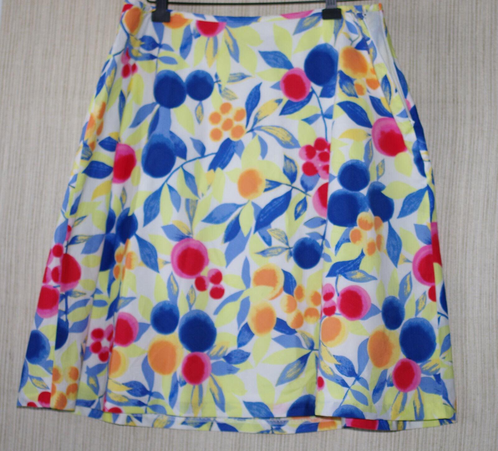Talbots Petite Floral A-Line Cotton Print Lined  Skirt Size  14 P