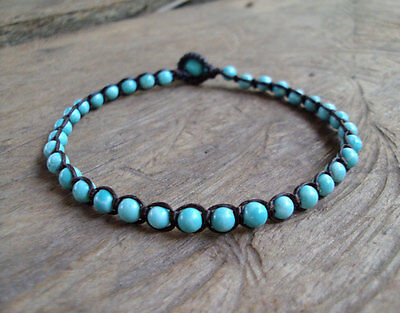 Hospitable Turquoise Anklets,stone Anklets,blue Anklets,men Anklets,women Anklets,handmade Good Heat Preservation Fashion Jewelry