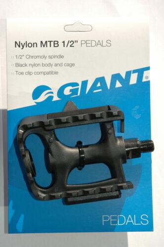 """GIANT Nylon MTB 1//2/"""" Pedals Juvenile Bike Bicycle Mountain Chromoly Black NEW!"""