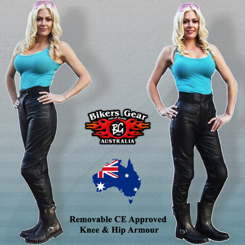 NEW FEMALE SOFT LEATHER MOTORCYCLE TOURING PANTS CE ARMOUR COMFORT FIT SIZE 14