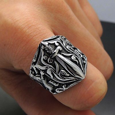 Men's Lion Sowrd 316L Stainless Steel Band Ring