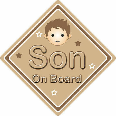 Non Personalised Child/baby On Board Car Sign ~ Son On Board ~ Brown Big Clearance Sale Baby Baby Safety & Health