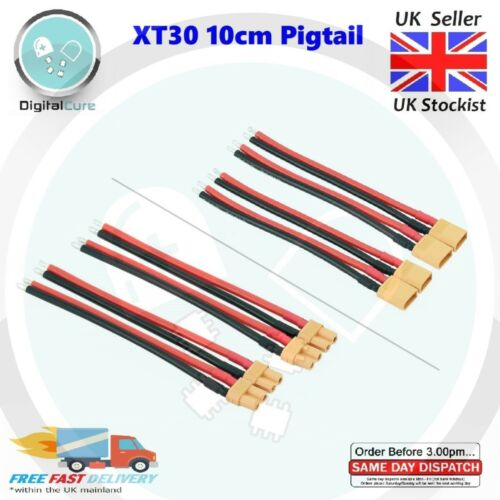 Male Female XT30 Battery Connector Pigtail Silicone 14AWG 10cm Cable Lead Wire