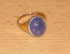 Harry Ivens Ring GG 375 mit Tansanit und 6 Diamanten Gr 19