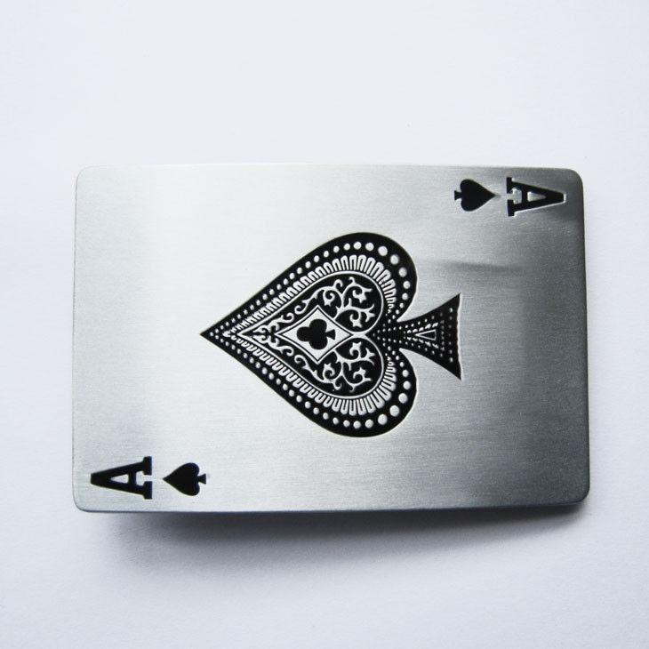 ACE Gürtelschnalle USA Buckle massiv Wechselschnalle Poker Player Tattoo Spade
